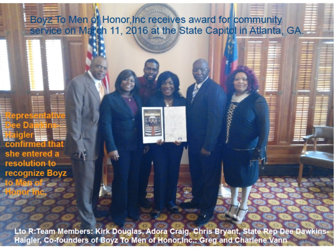 B2MH Receives Community Service Award in Georga State Capitol.